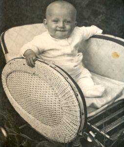 Baby in stroller - circa 1945